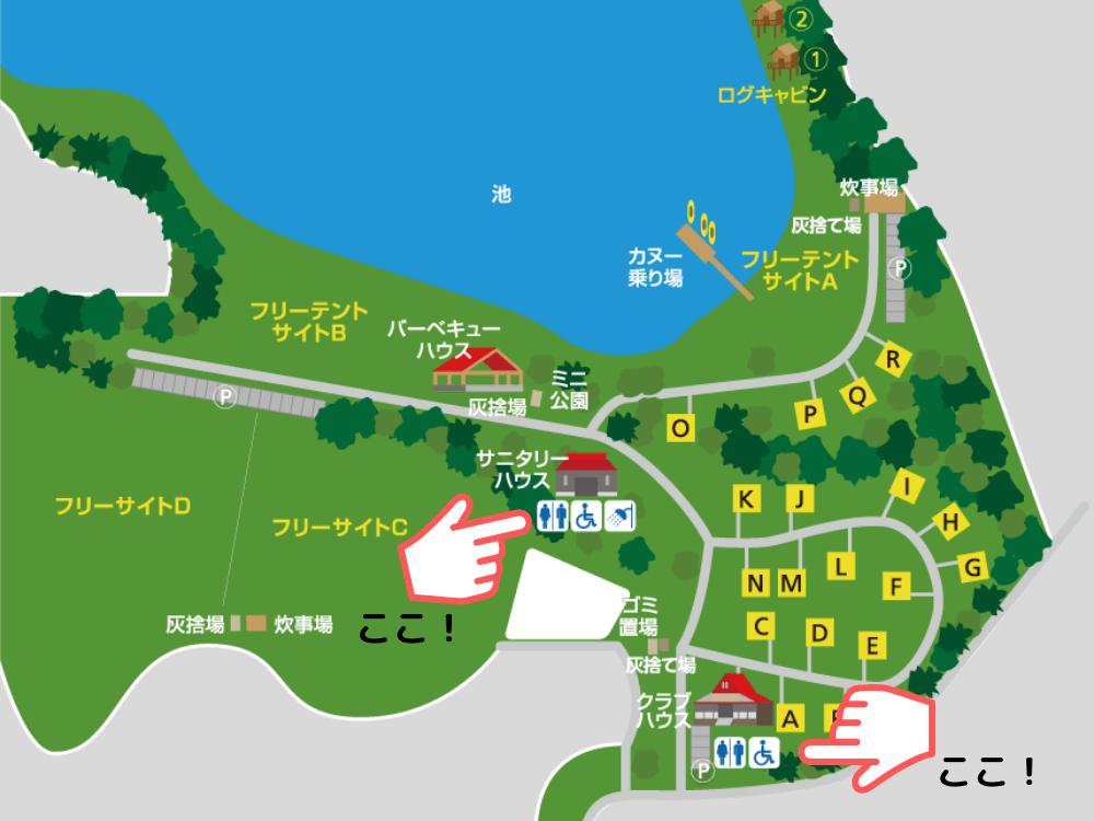 大池オートキャンプ場 場内マップ(トイレ)