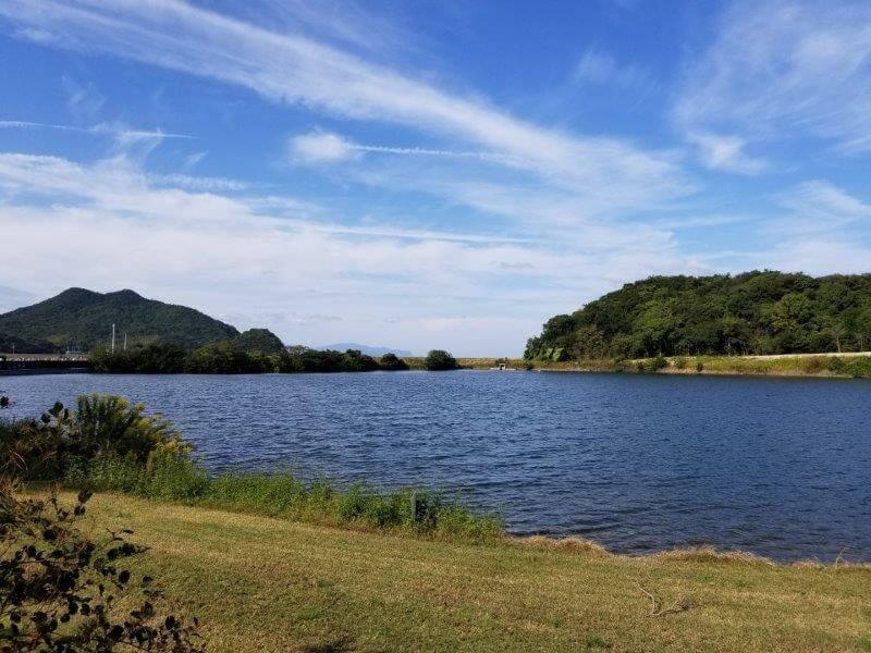 大池オートキャンプ場 フリーサイトBからの湖畔の景色