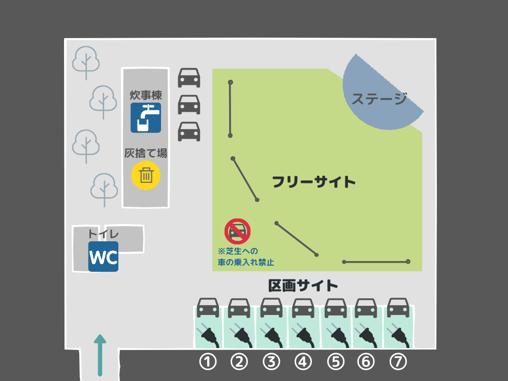 岩屋キャンプ場 テントサイトの詳細マップ