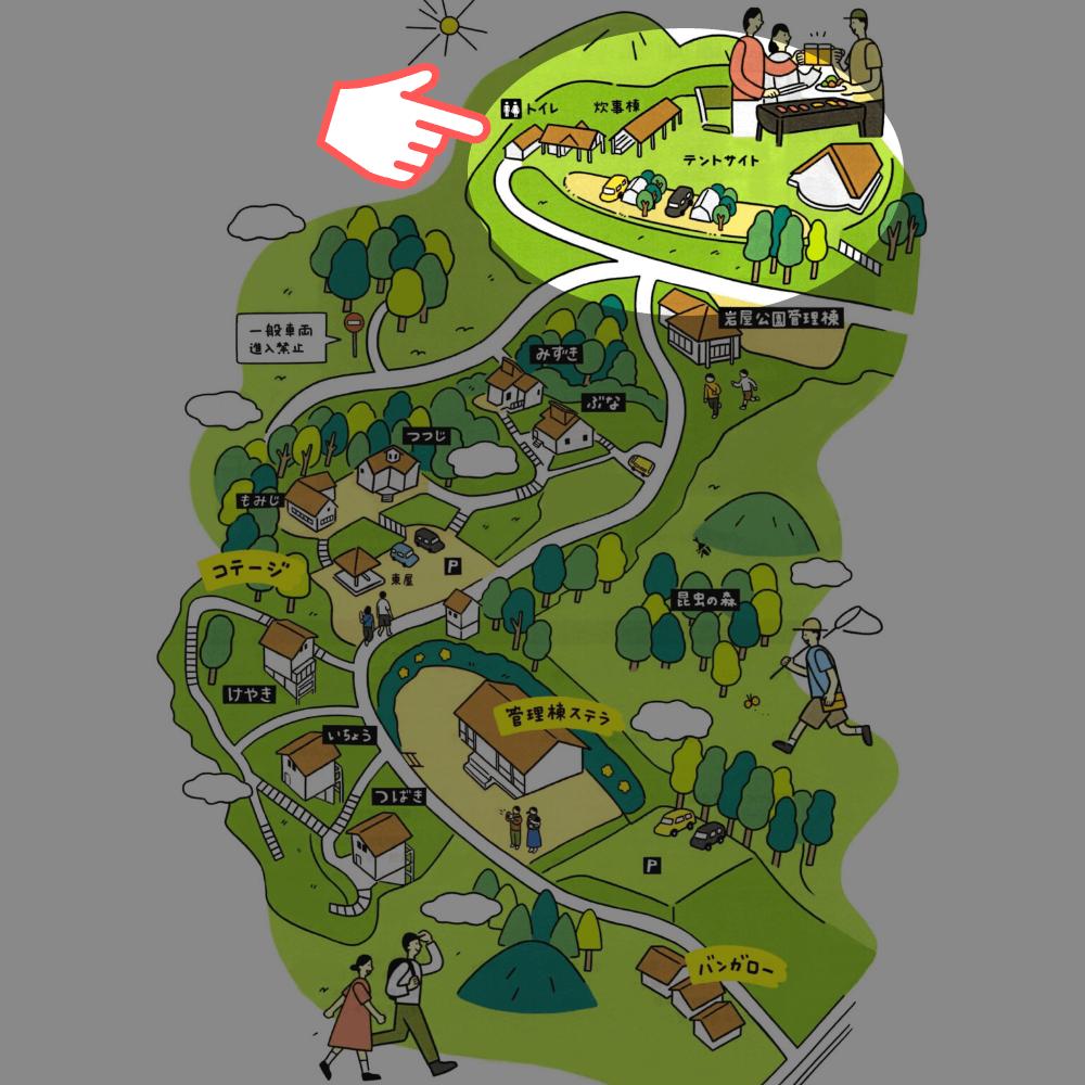 岩屋キャンプ場 場内マップ(テントサイト)