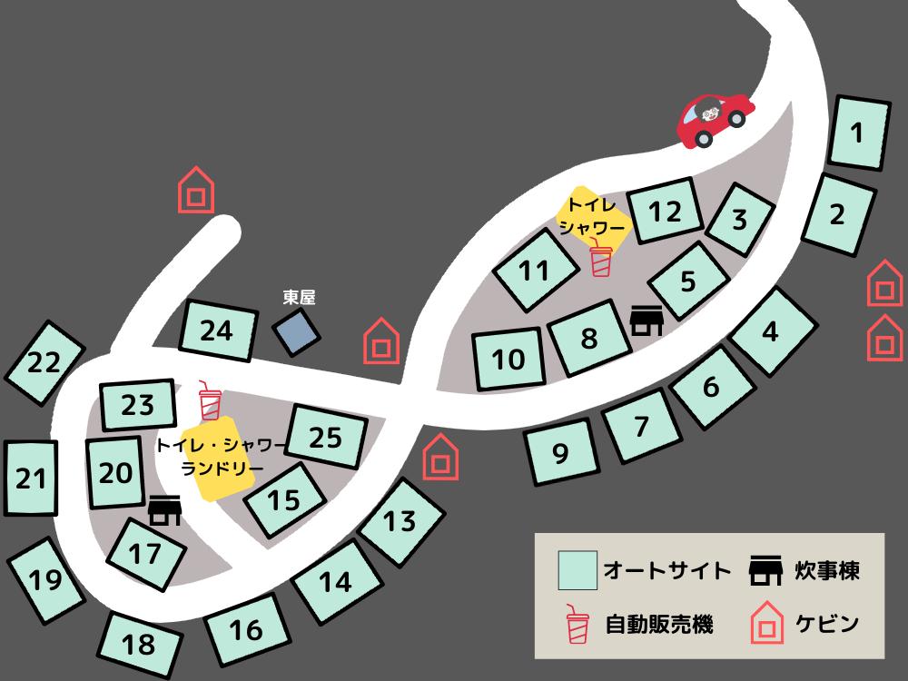 エコ・パーク論所原 テントサイトの詳細マップ