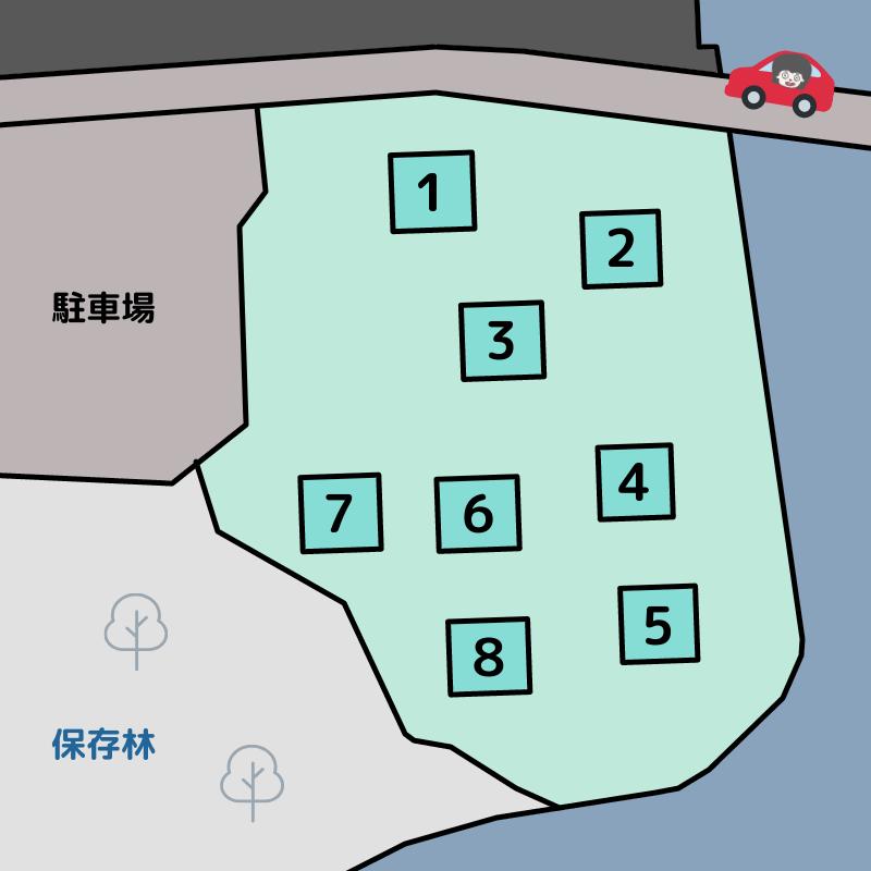 川原大池公園キャンプ場 テントサイトの詳細マップ