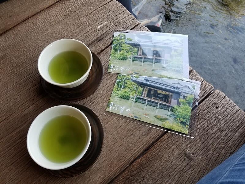 鯉の泳ぐまち 四明荘でポストカードとお茶がもらえる