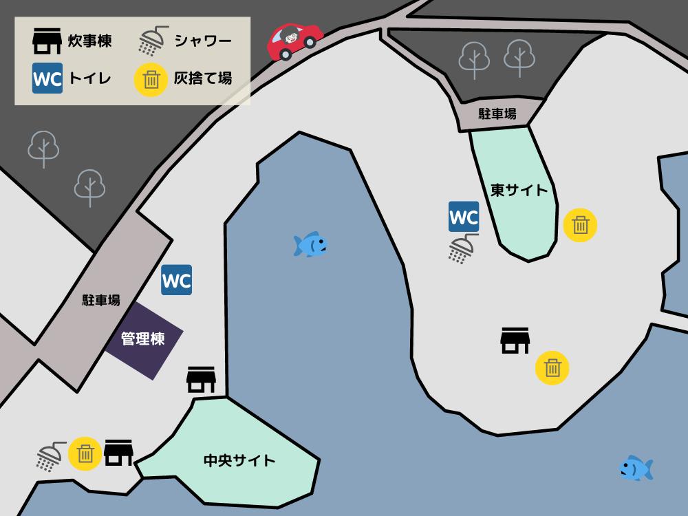 野岳湖キャンプ場 詳細マップ