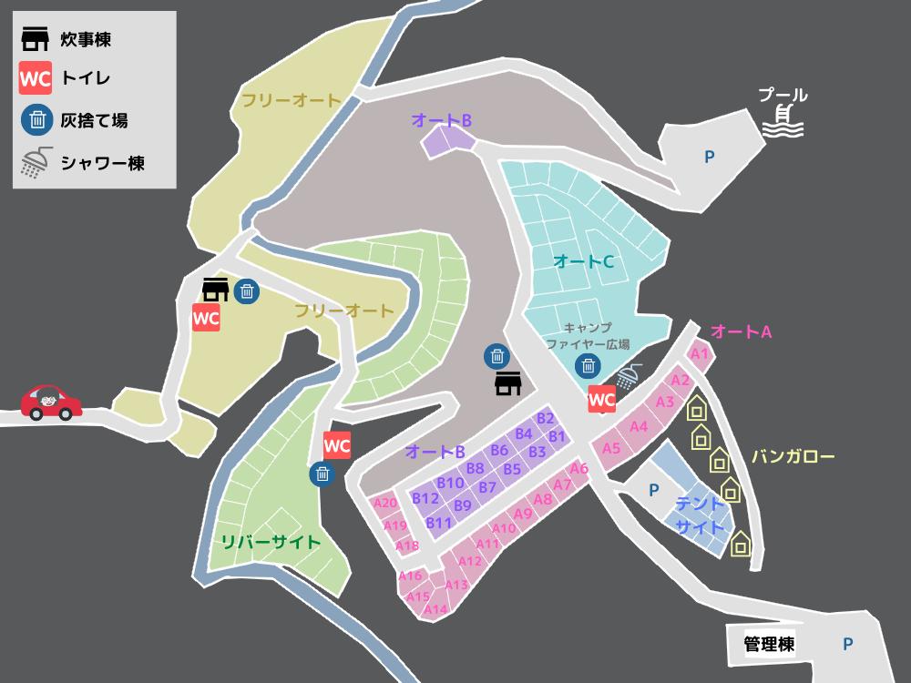 歌瀬キャンプ場 場内MAP