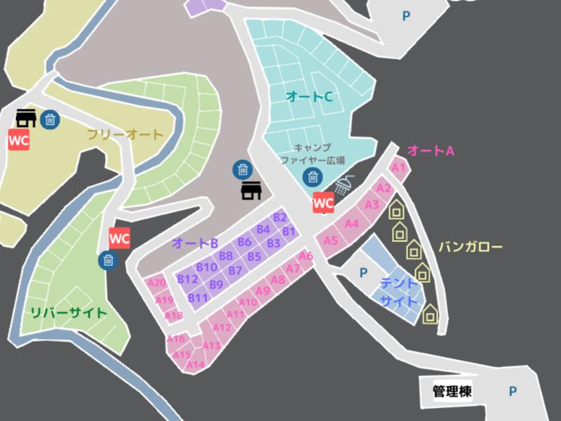 歌瀬キャンプ場 場内マップ オートAサイト