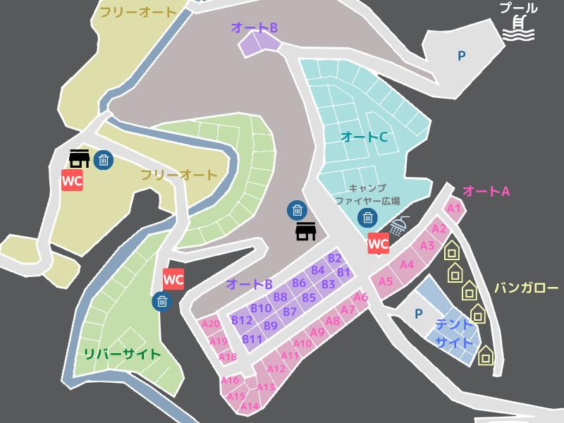 歌瀬キャンプ場 場内マップ オートBサイト