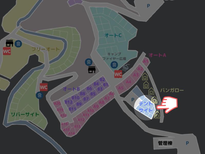 歌瀬キャンプ場MAP テントサイト