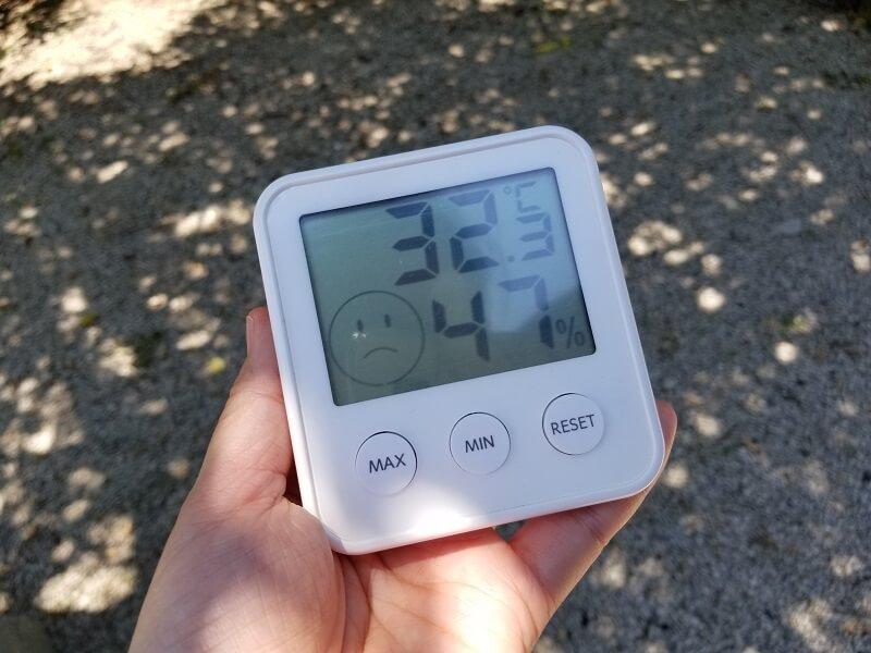 クーラーボックスの保冷力を検証した日の気温
