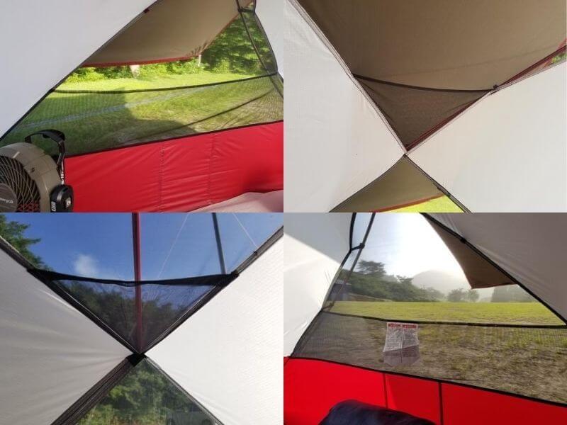 MSRエリクサー4 テント内にあるメッシュポケットは計6か所