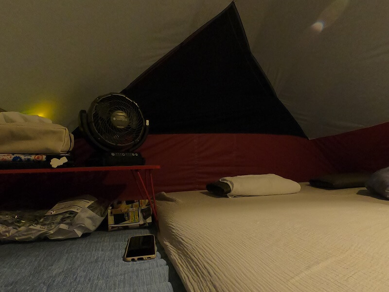 snowpeak ポータブル扇風機 フィールドファンをテント内で使用
