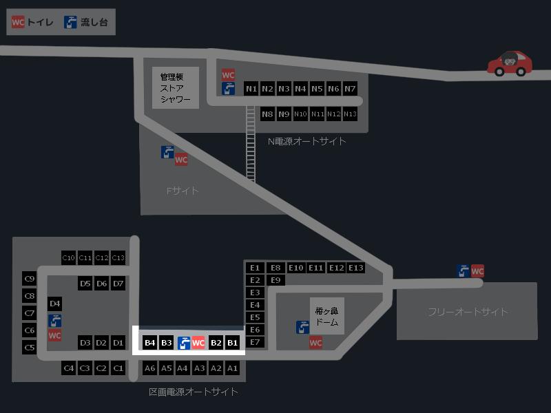 スノーピーク奥日田キャンプフィールド 場内マップ(区画電源オートサイトB)