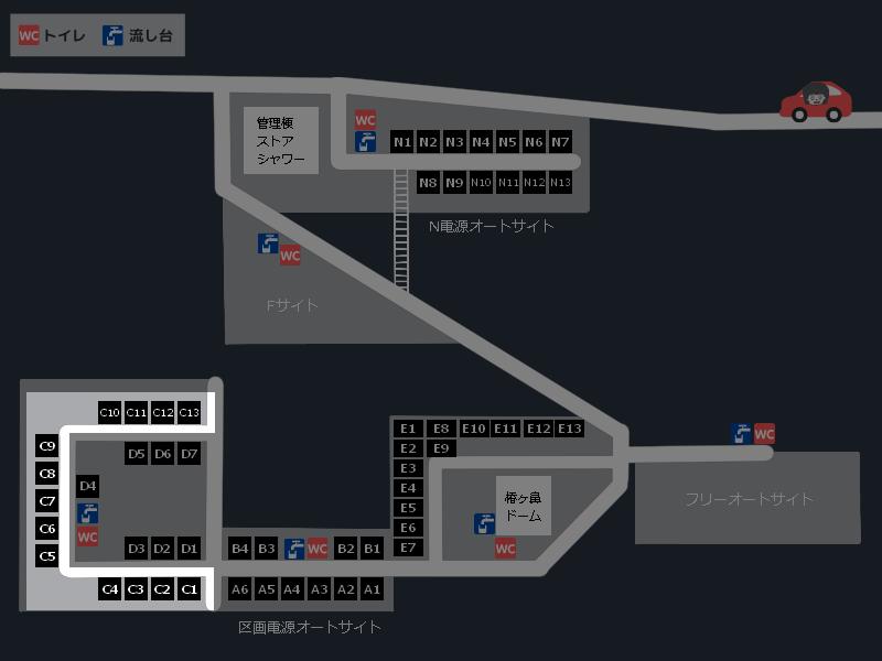 スノーピーク奥日田キャンプフィールド 場内マップ(区画電源オートサイトC)
