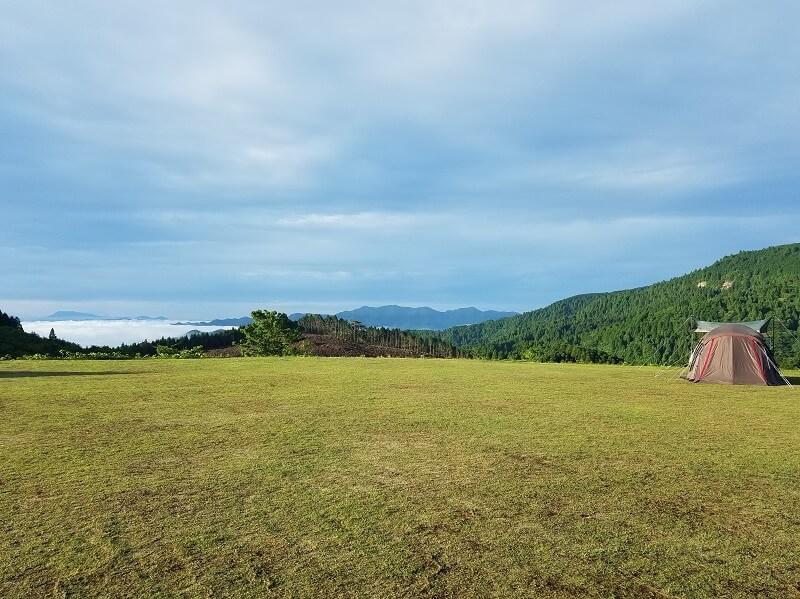 スノーピーク奥日田(Fサイトから見えた雲海)