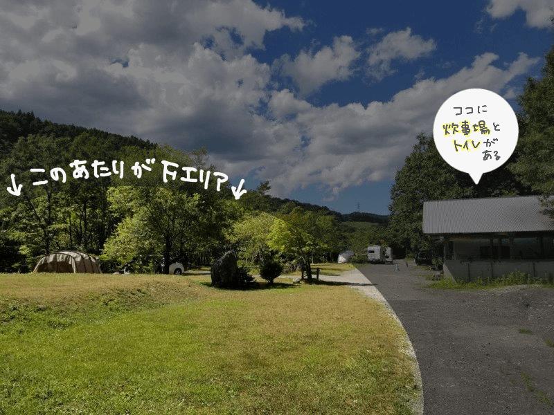 オートキャンプ竜門 テントサイトFエリア