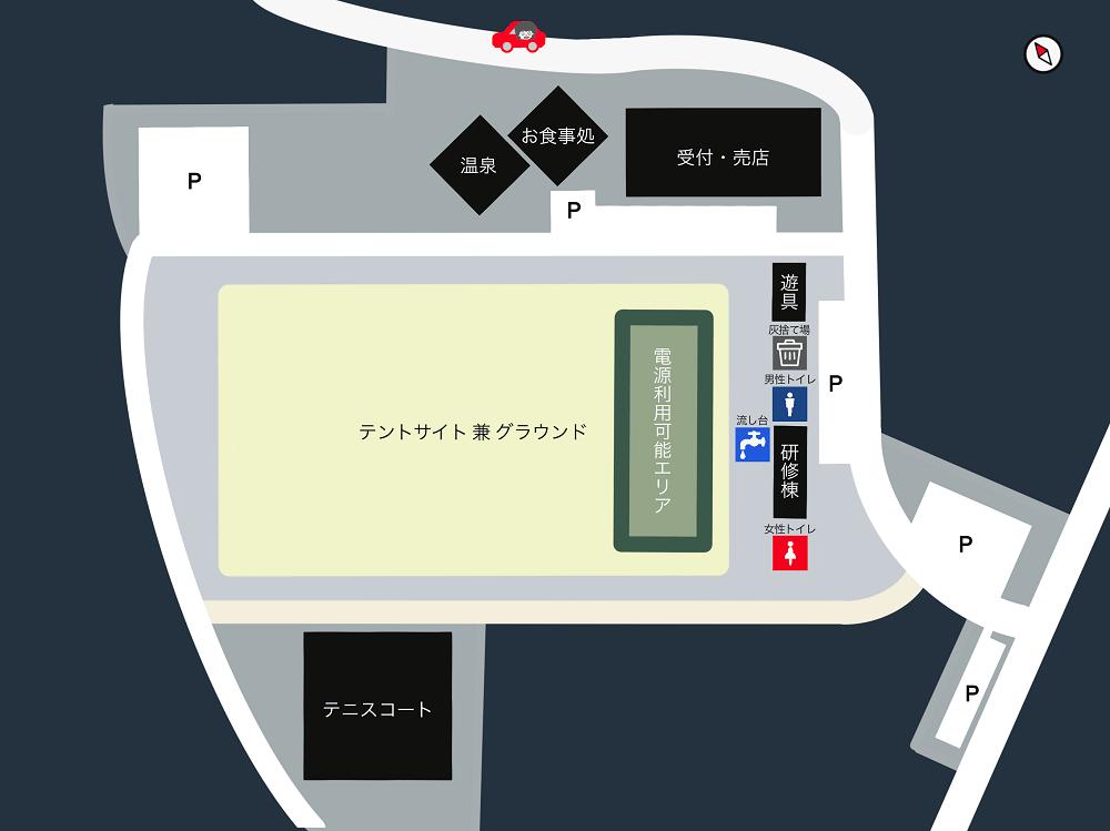 木魂館 キャンプ場の場内マップ