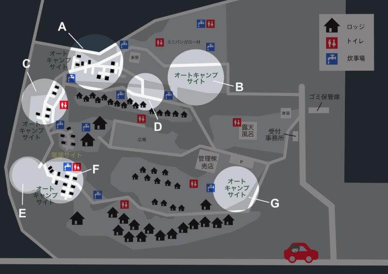 九重グリーンパーク泉水キャンプ村 場内マップ(オートキャンプサイト)