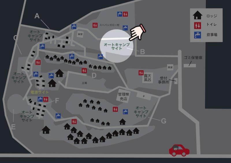 九重グリーンパーク泉水キャンプ村 場内マップ(オートキャンプサイトB)
