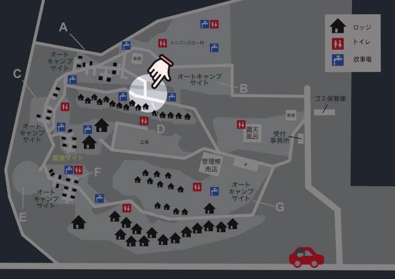 九重グリーンパーク泉水キャンプ村 場内マップ(オートキャンプサイトD)