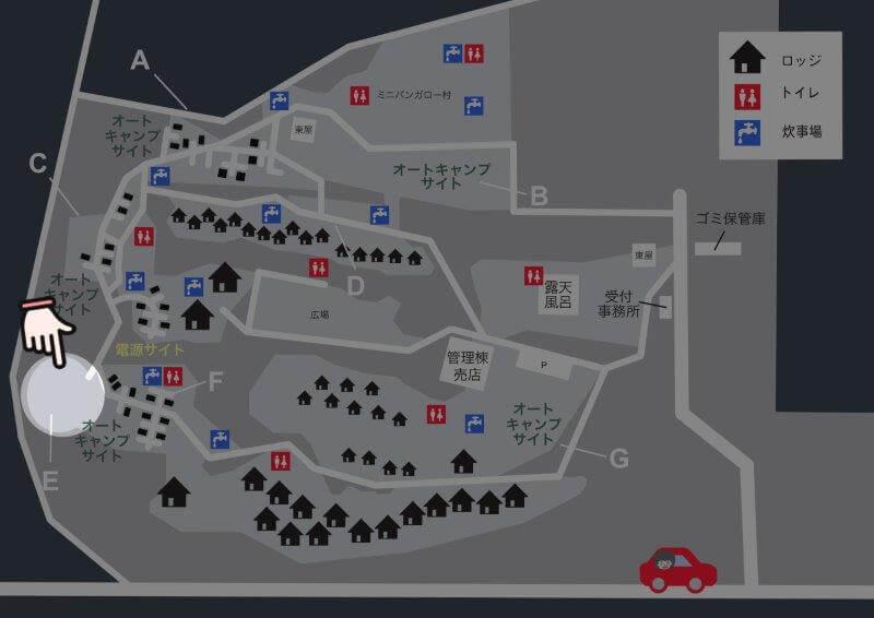 九重グリーンパーク泉水キャンプ村 場内マップ(オートキャンプサイトE)