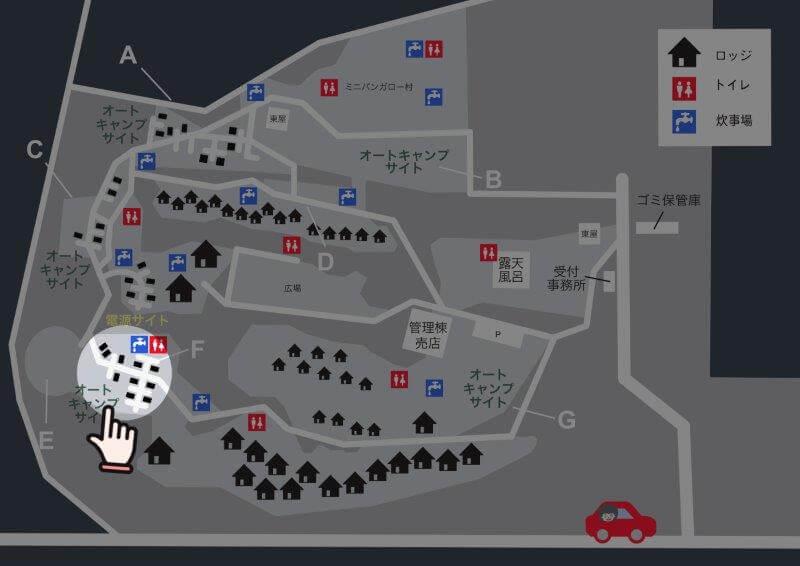 九重グリーンパーク泉水キャンプ村 場内マップ(オートキャンプサイトF)
