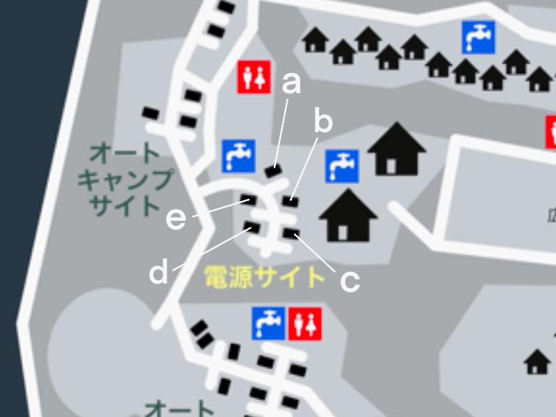 九重グリーンパーク泉水キャンプ村 場内マップ(電源サイト)