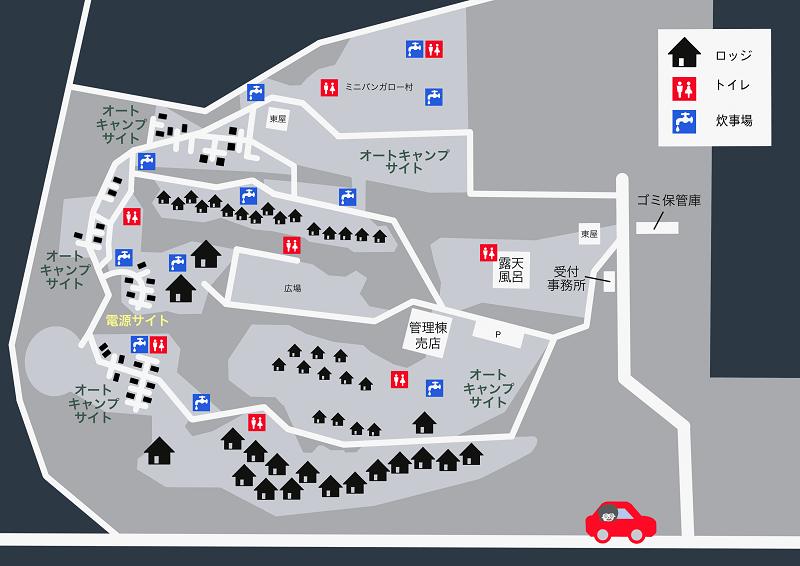 九重グリーンパーク泉水キャンプ村 場内マップ