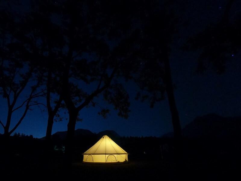熊谷牧場・雛戸 ブルーベリー・キャンプガーデン キャンプの夜