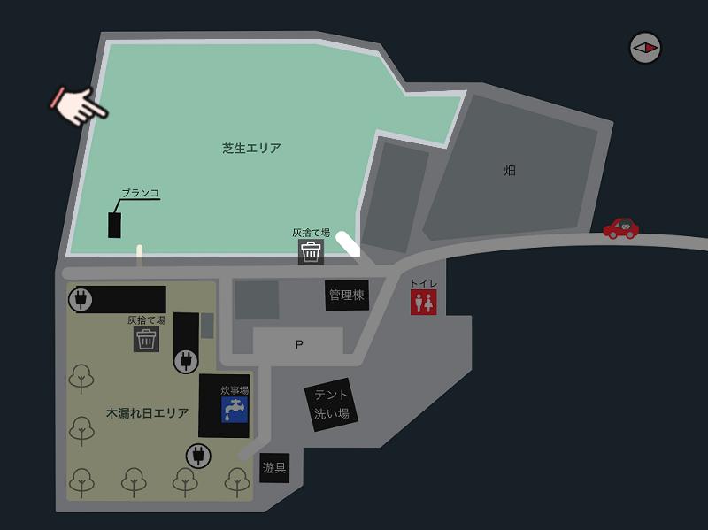 キャンプ&農園 玖珠の杜 場内マップ(芝生エリア)