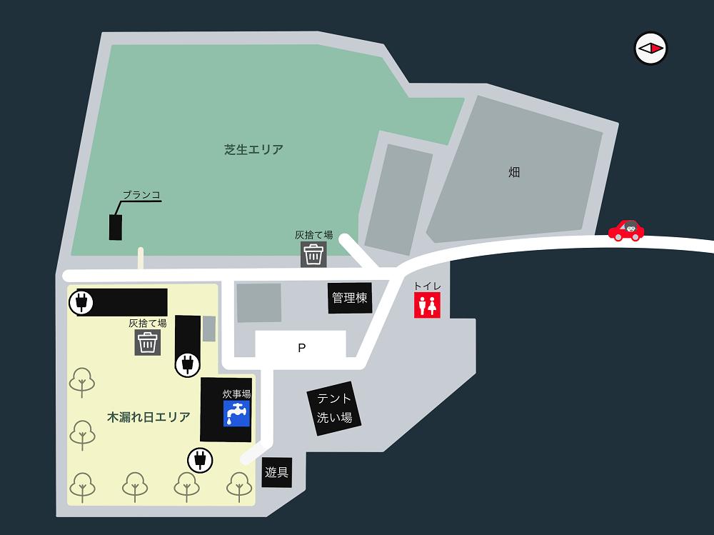 キャンプ&農園 玖珠の杜 場内マップ