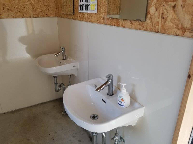 キャンプ&農園 玖珠の杜 トイレの手洗い場