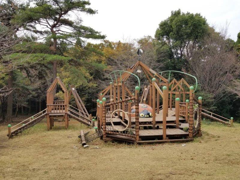 風の里キャンプ場 虫の広場の木製遊具
