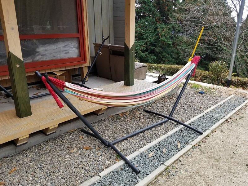 風の里キャンプ場 自立式ハンモックのレンタルは1泊500円