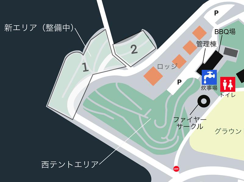 草枕山荘キャンプ場 場内マップ(新エリア)