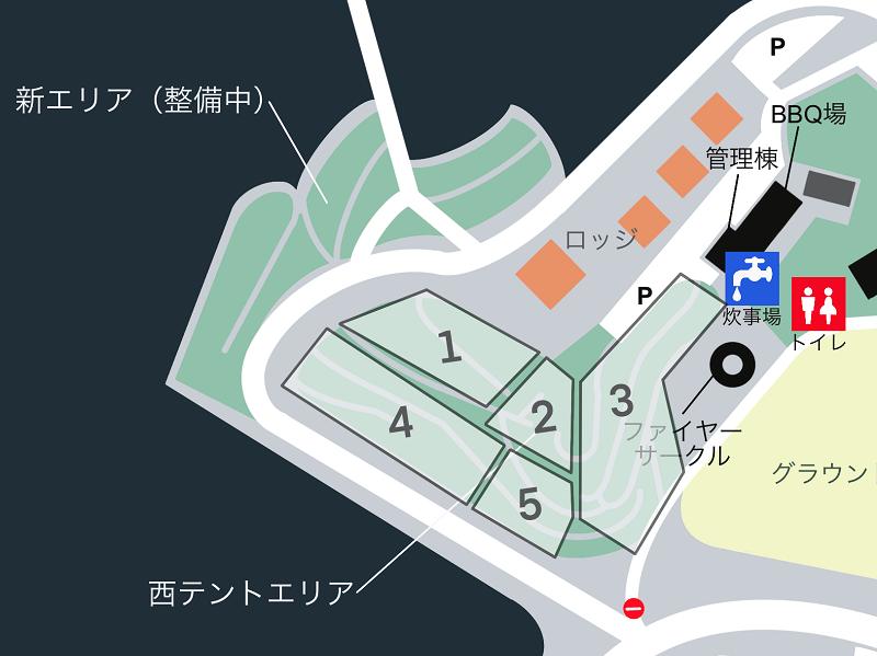 草枕山荘キャンプ場 場内マップ(西テントエリア)