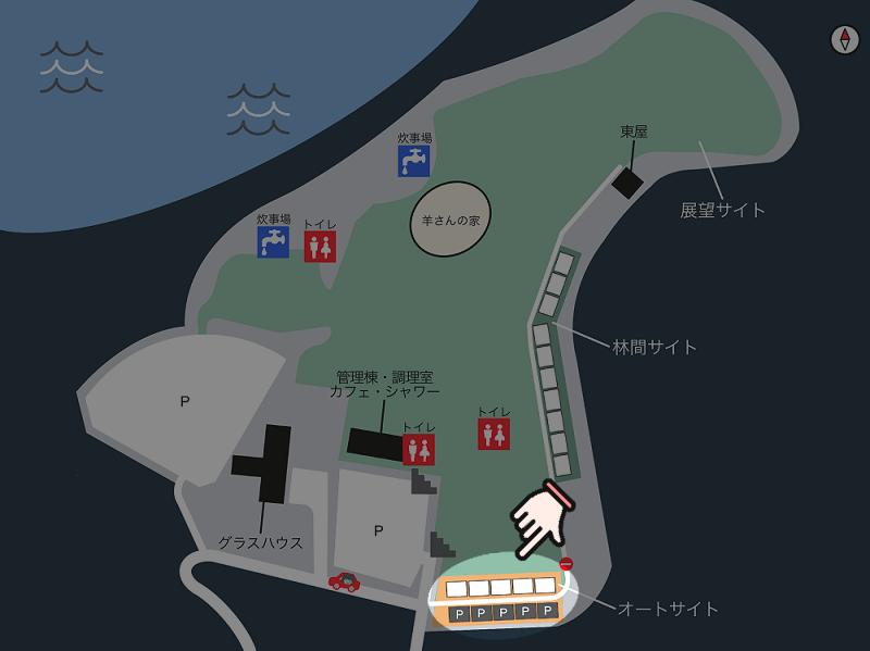中瀬草原キャンプ場 場内マップ(オートサイト)