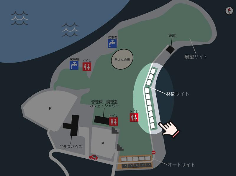 中瀬草原キャンプ場 場内マップ(林間サイト)