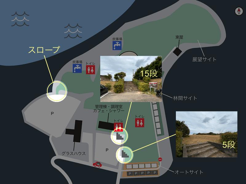 中瀬草原キャンプ場 場内マップ(駐車場からサイトへの移動方法について)