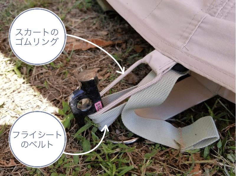 ノルディスク アスガルド12.6の設営手順(ペグにフライシートのベルトとスカートのゴムリングを引っかける)