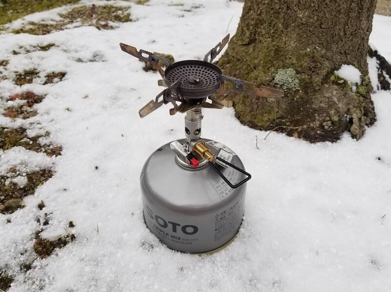 SOTO マイクロレギュレーターストーブ ウインドマスター 雪の日