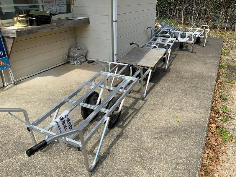 大崎自然公園キャンプ場 荷物運搬用の貸出リアカー