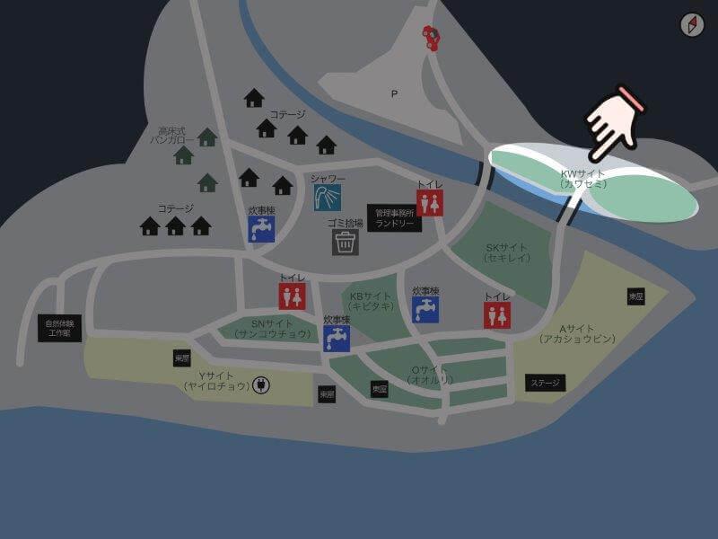 【御池キャンプ村】場内マップ(KWサイト)
