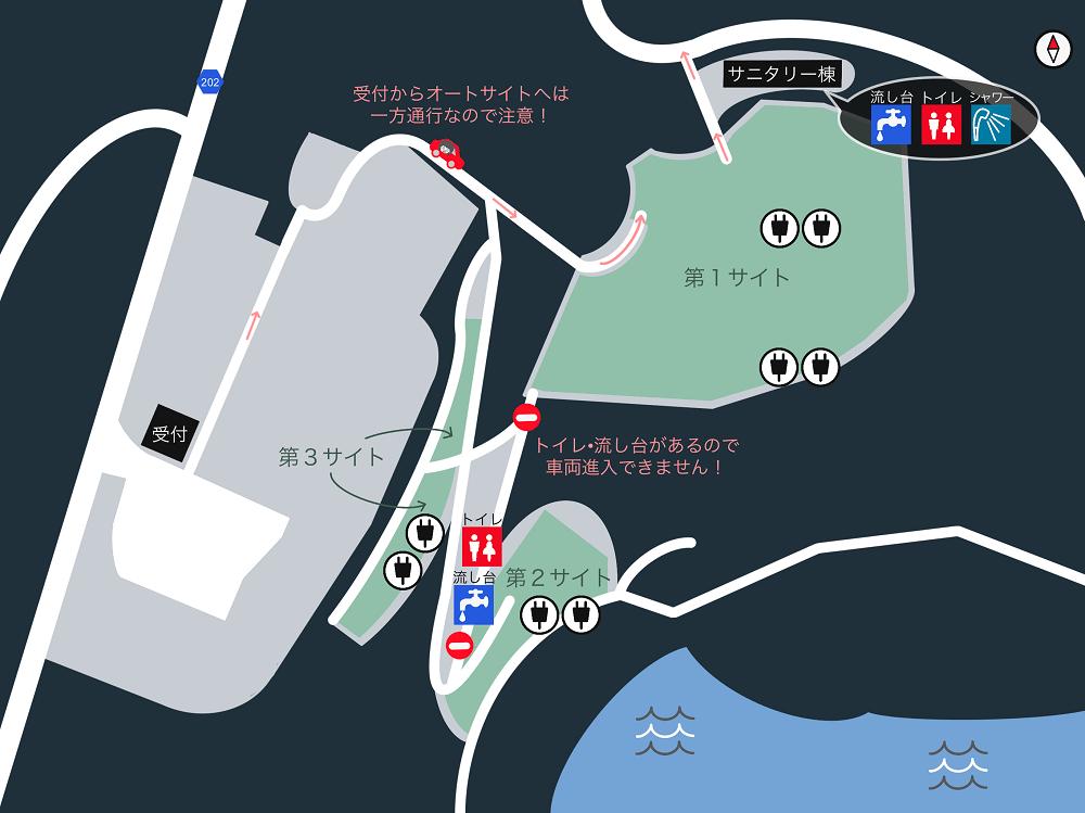 西海橋オートキャンプ場 場内マップ