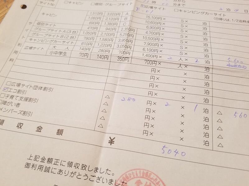 【ひなもりオートキャンプ場の旅行記】広場サイト大人2人2泊で5,040円でした
