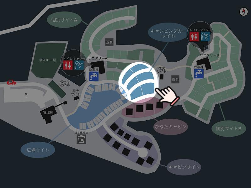 【ひなもりオートキャンプ場】場内マップ(キャンピングカーサイト)